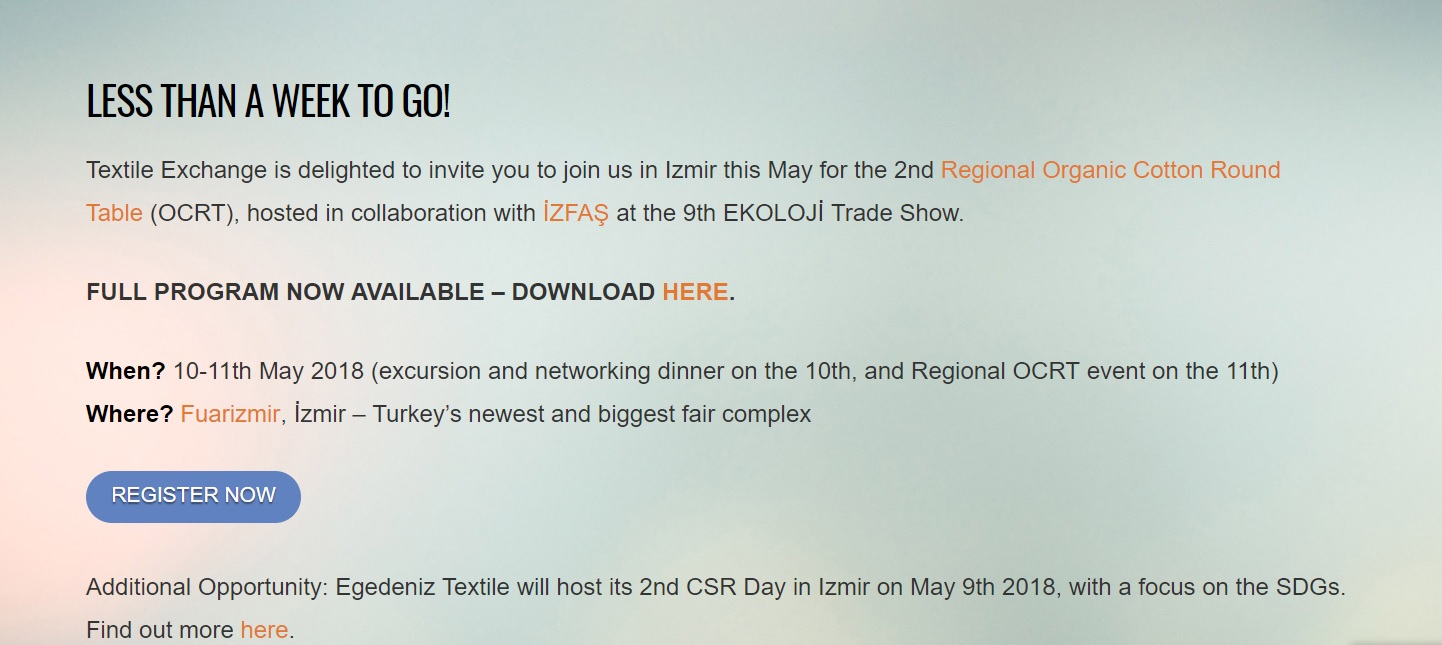 Egedeniz Textile – 9thEKOLOJİ Trade Show & Textile Exchange OCRT in Izmir